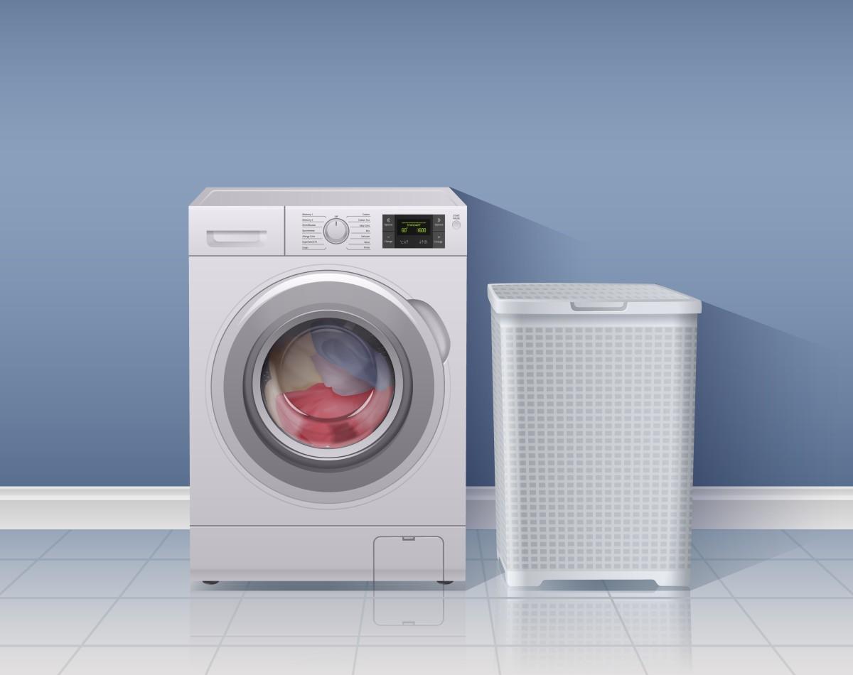 pralka i kosz na pranie